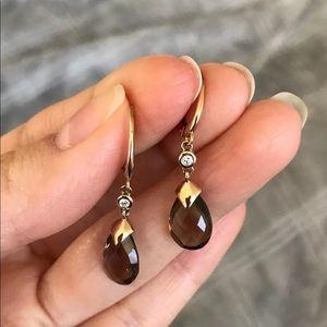 NWOT Saks Fifth Avenue 14k gold earrings quartz